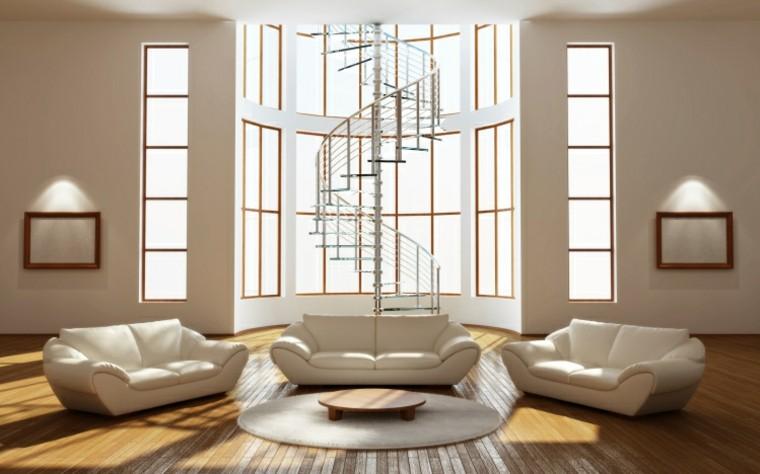 salon moderno amplio ventanas grande muebles blancos ideas