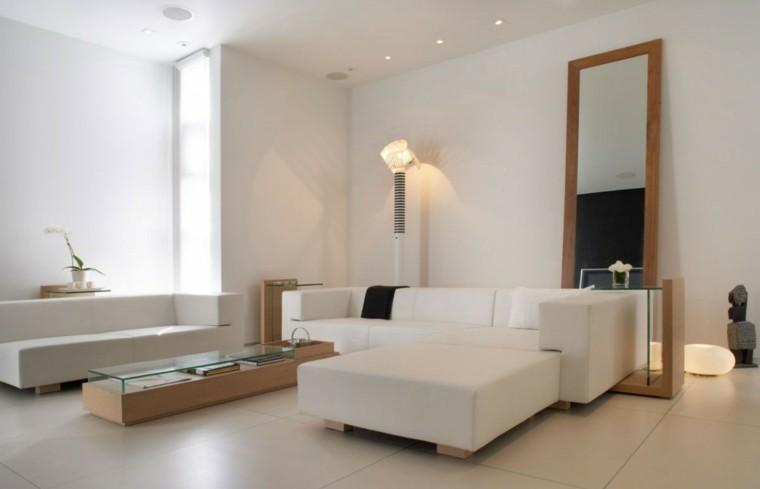 salon moderno blanco mesas cristal madera ideas
