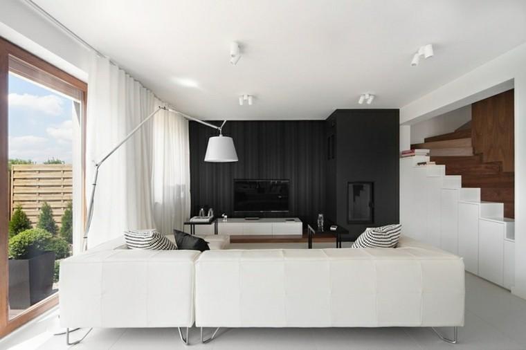salon estilo moderno blanco negro