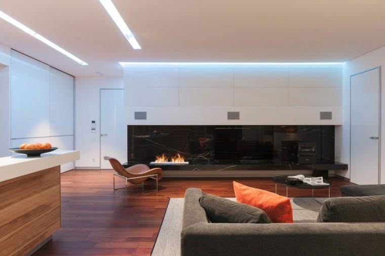 salon moderno chimenea abierta gas marmol negro ideas