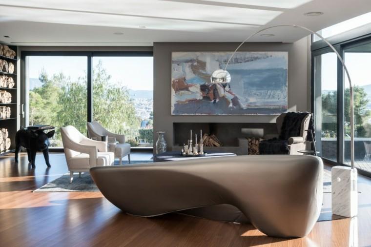 salon moderno chimenea madera abierta ideas