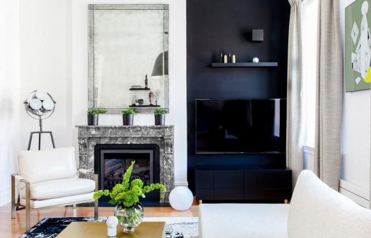 salon moderno chimenea madera espejo grande decorativo ideas