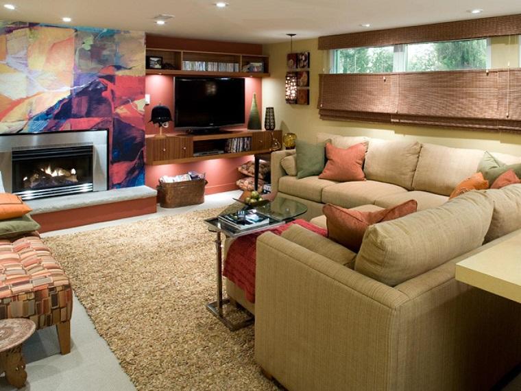 salon moderno chimenea madera pared colores preciosa ideas