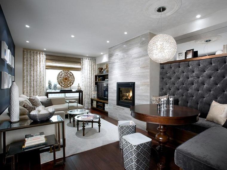 salon moderno chimenea pared losas granito ideas