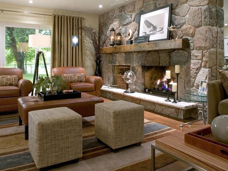 salon moderno chimenea pared losas piedra sillones cuero ideas