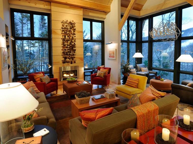 salon moderno chimenea pared madera decorada ideas