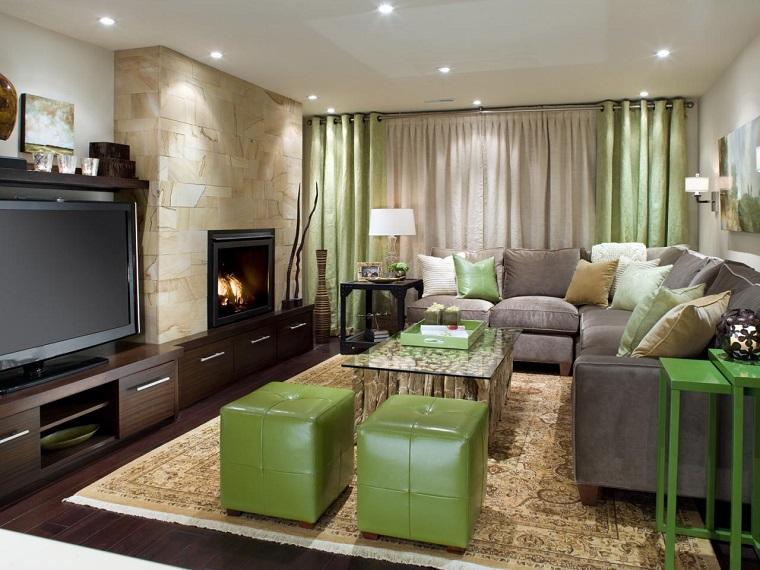 salon moderno chimenea taburetes cuero verde ideas