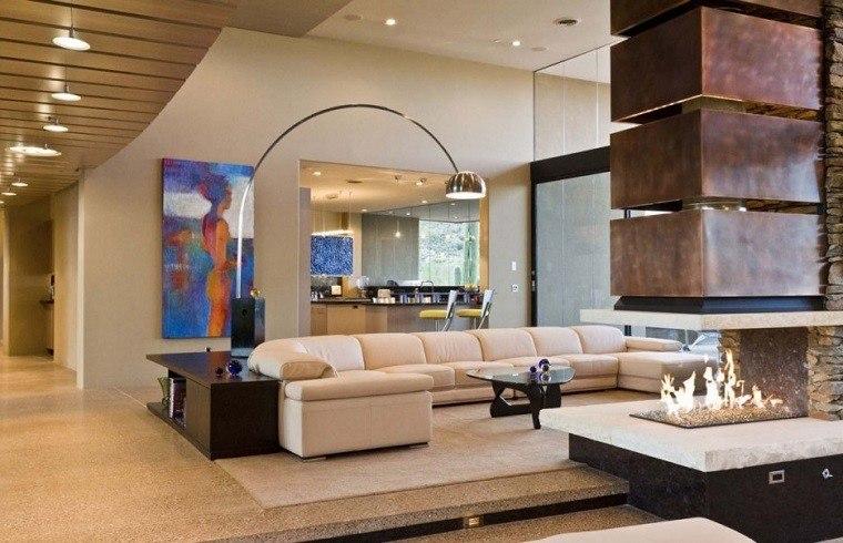 salon moderno columna chimenea sofa