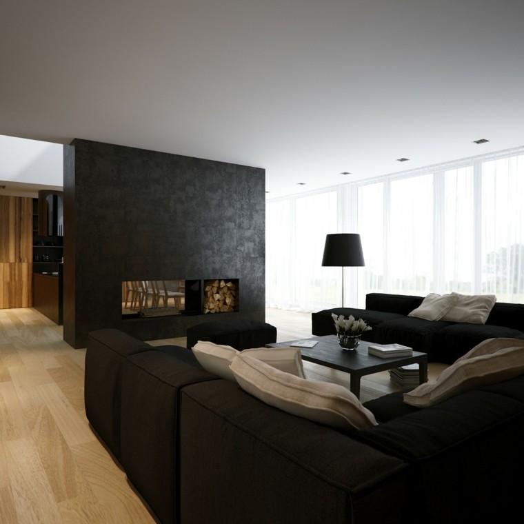 diseño salon moderno decorado negro