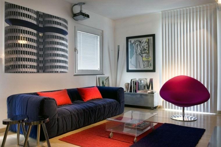 salon moderno diseno alfombra roja sofa azul ideas