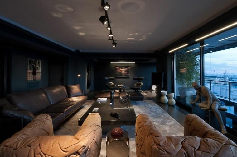 salon moderno diseno colores oscuros muebles paredes ideas