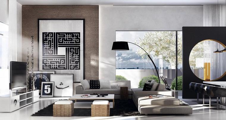 salon moderno diseno cuadros sofa gris ideas