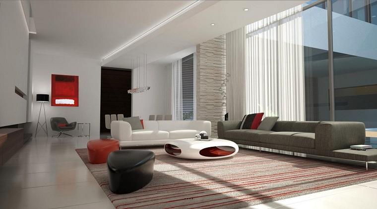 salon moderno diseno decoracion futurista negro rojo blanco ideas