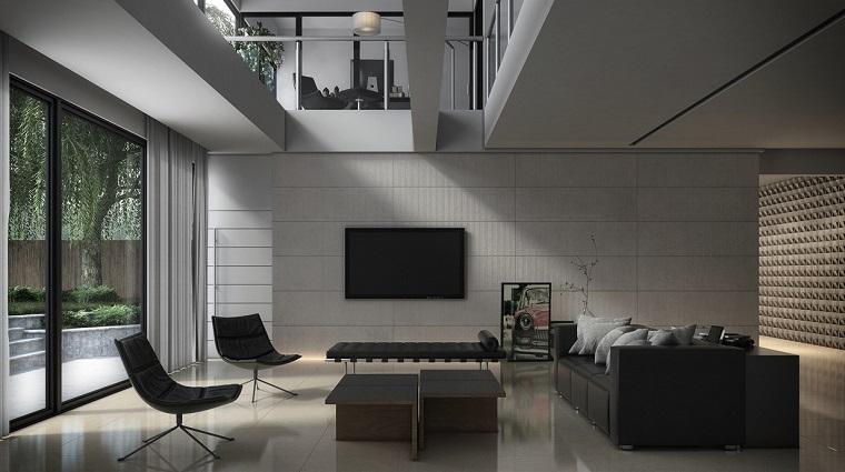 salon moderno diseno masculino minimalista negro ideas