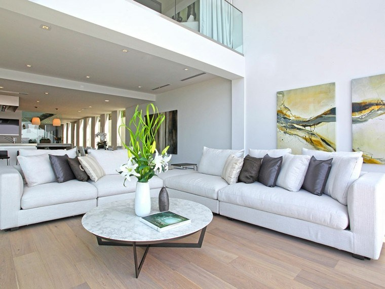 salon moderno diseno mesa cafe marmol amplio ideas