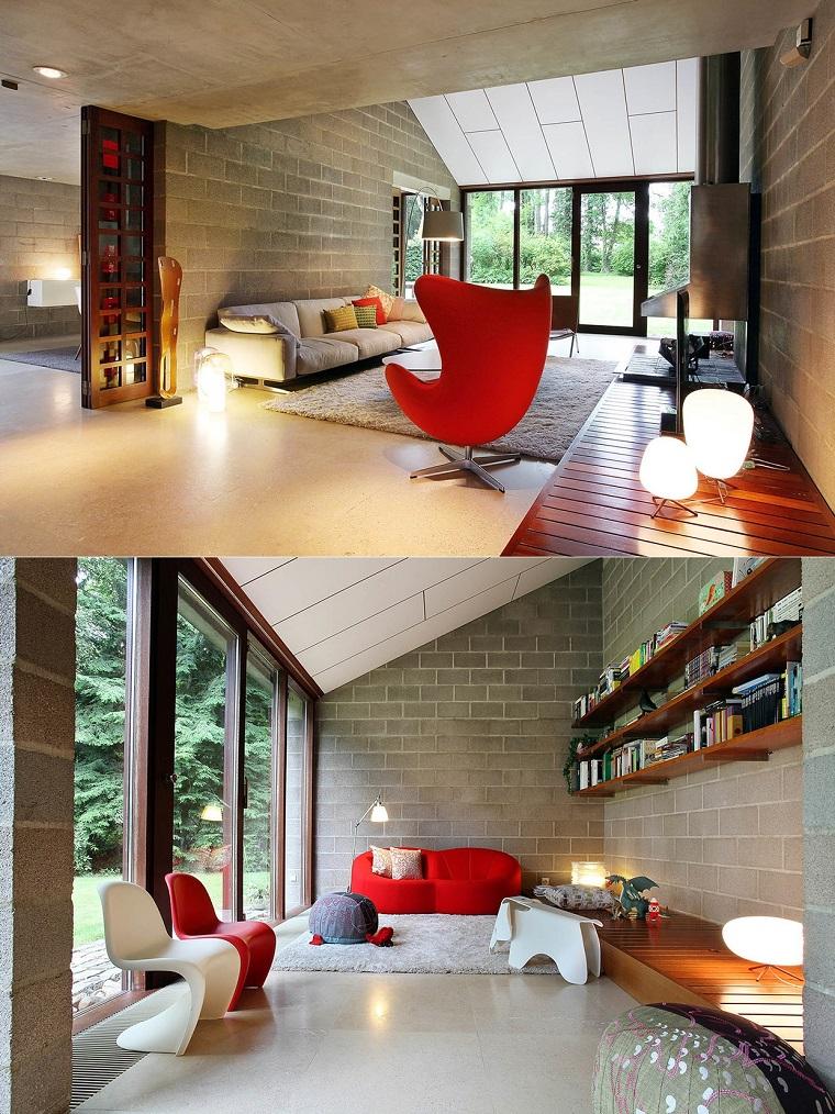 salon moderno diseno sillas plastico rojo blanco ideas