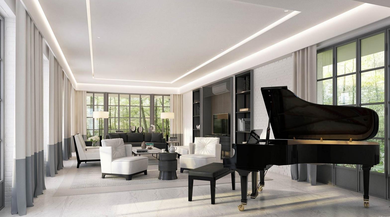 salon moderno diseno sillones blancos sofa negra ideas