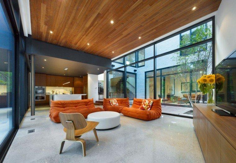 salon moderno diseno sillones naranja ideas