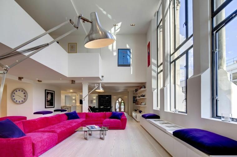 salon moderno diseno sofa llamativo cojines azules ideas