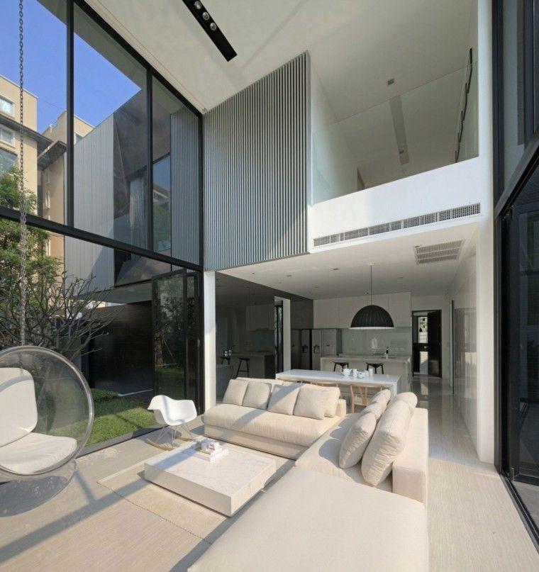 salon moderno diseno sofa mesa blanca silla colgante ideas