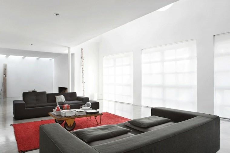 salon moderno diseno sofas negras alfombra roja ideas