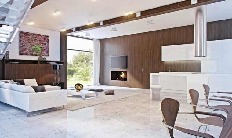 sala moderna elementos madera