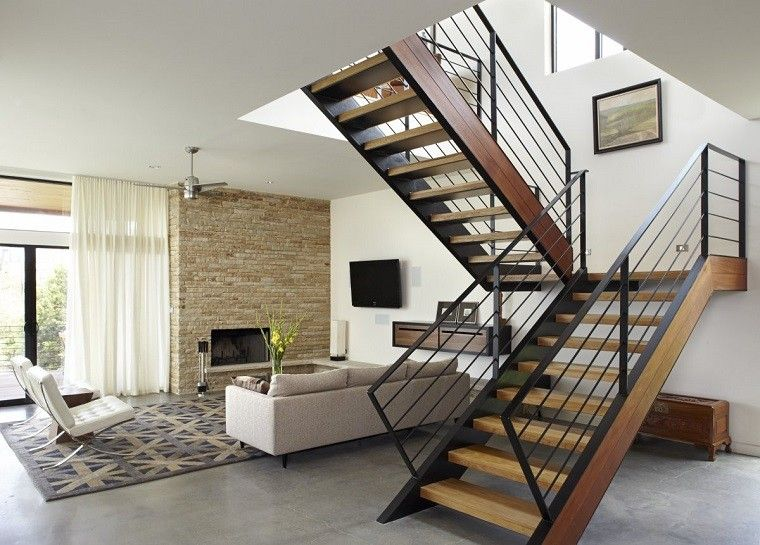 diseño salon moderno escaleras madera