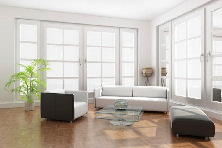 salon moderno estilo minimalista sofas blancas ideas
