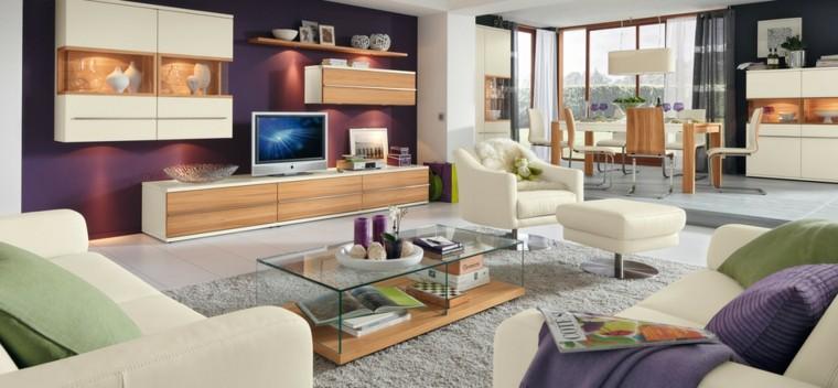 salon moderno muebles madera pared purpura ideas