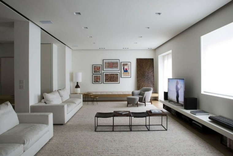 salon moderno pared blanca dos sofas ideas
