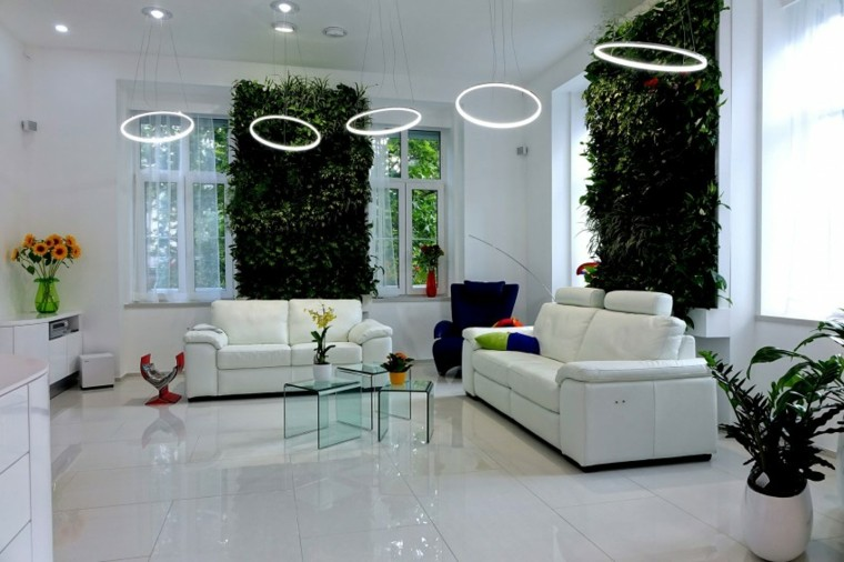 salon moderno pared blanca jardin vertical ideas
