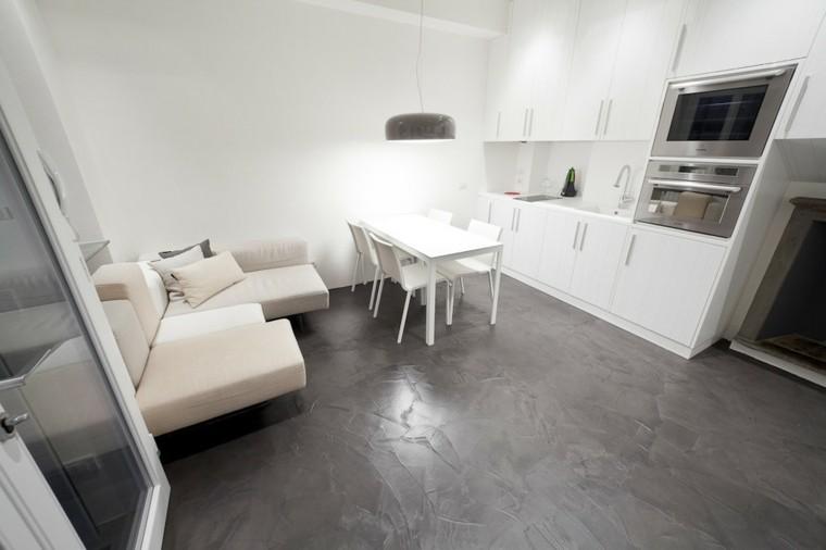 salon moderno pared blanca muebles cocina ideas