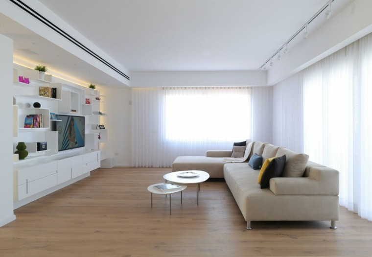salon moderno pared blanca suelo madera ideas