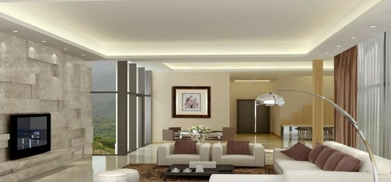 salon moderno pared relieve gris