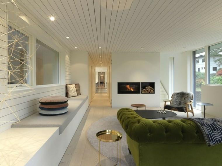 salon moderno paredes blancas chimenea medio pared empotrada ideas
