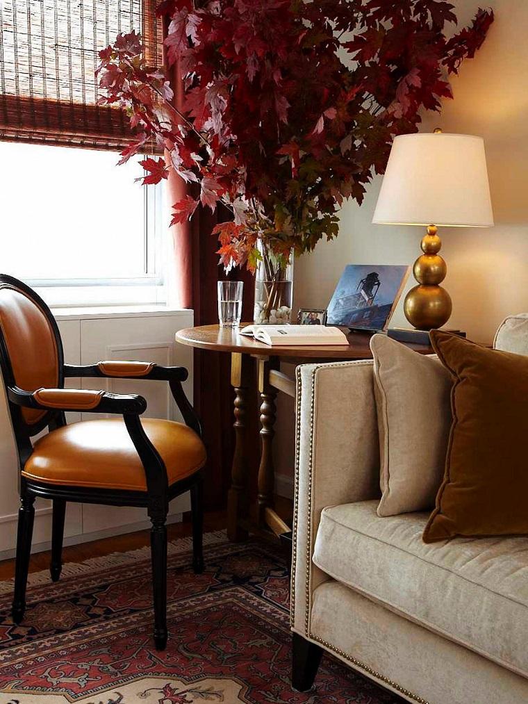 salon moderno ramas hojas colores otono ideas