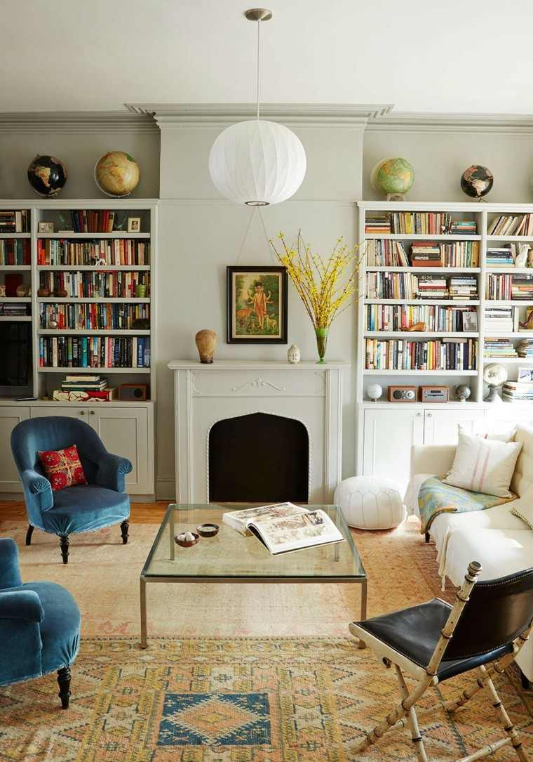 salon moderno sillones azules globo ideas