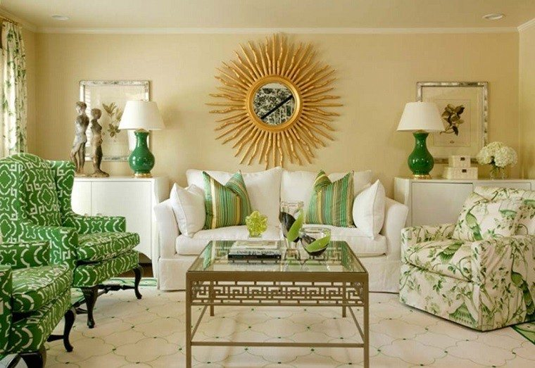 salon moderno sillones verde decoracion pared preciosa ideas