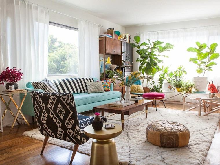 salon moderno sofa azul mesita oro preciosa ideas