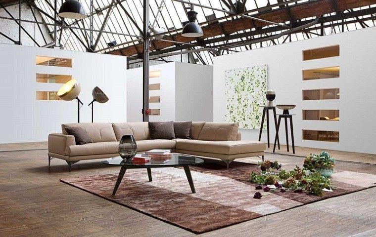 salon moderno sofa grande beige mesa cristal ideas
