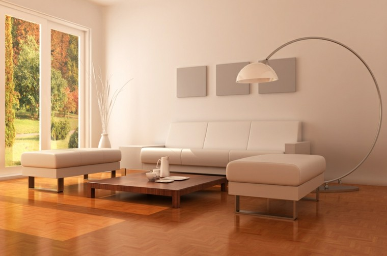 salon moderno sofa grande slanca luminoso suelo madera ideas