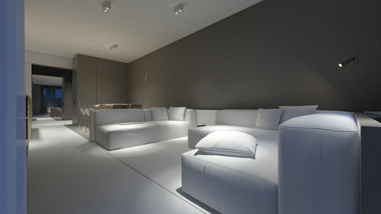 salon moderno sofas blancas estilo minimalista ideas