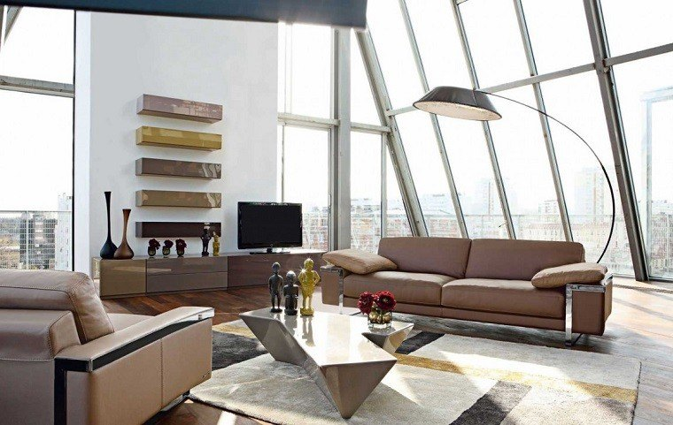 salon moderno sofas cuero estanterias preciosas ideas