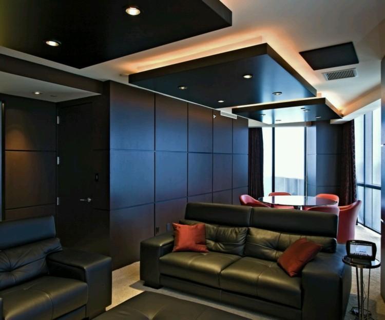 salon moderno sofas negros luces