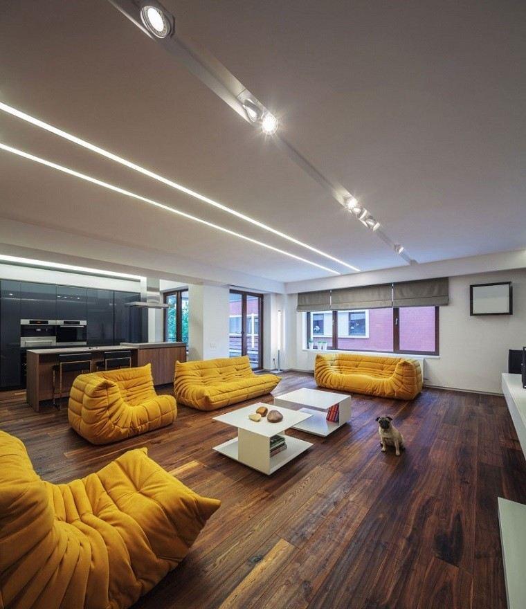 salon moderno sofas preciosas diseno amarillas ideas
