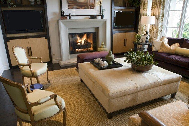 salon moderno sofas purpura otomana chimenea ideas