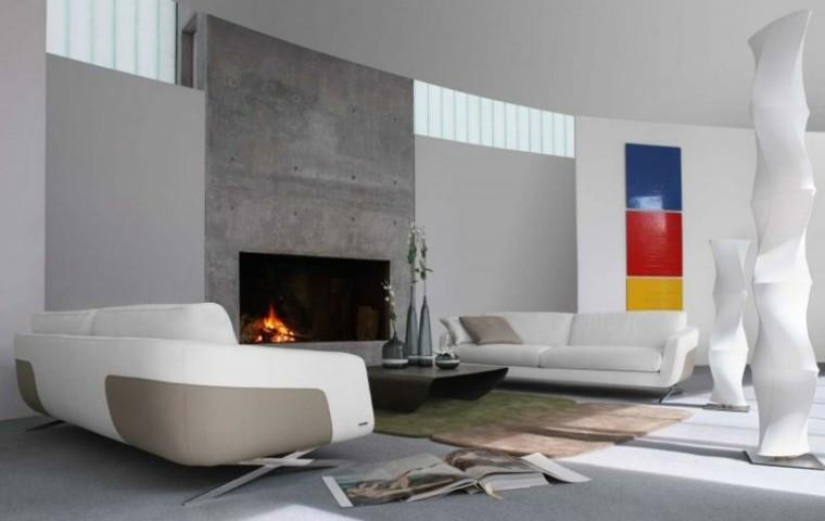 salon moderno chimenea cemento pared