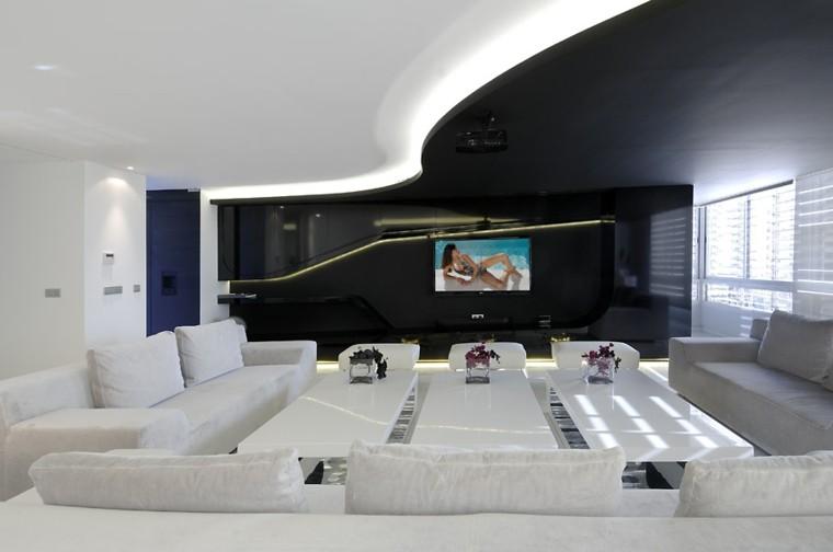 salon mueble sofa blanco led