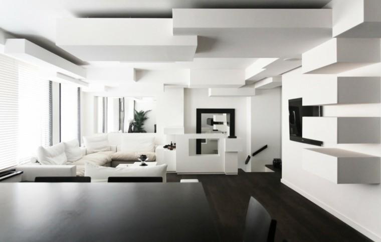 salon muebles blancos toques negro pared techo precioso ideas