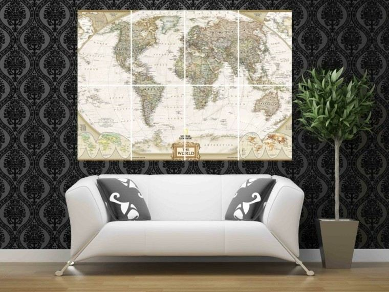 salon papel pared negro mapa mundo decorativa ideas